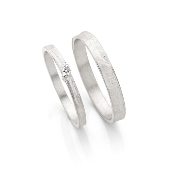 Rhodium gold wedding rings N° 053_1