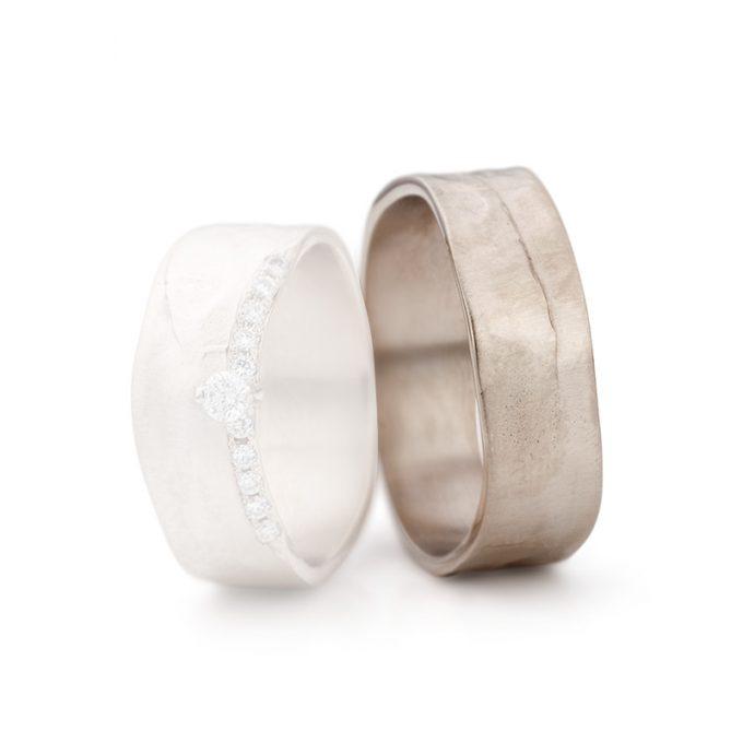 White gold wedding rings N° 11_1_11 man's ring