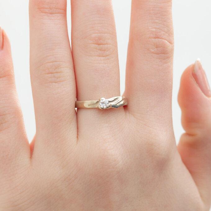 Witgouden verlovingsring met diamant N° 206 model foto 2