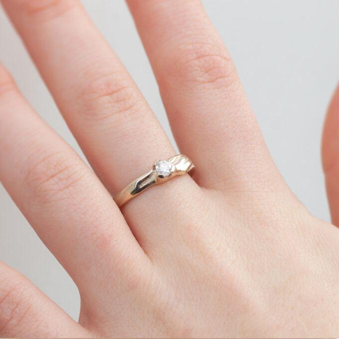 Witgouden verlovingsring met diamant N° 206 model foto 1