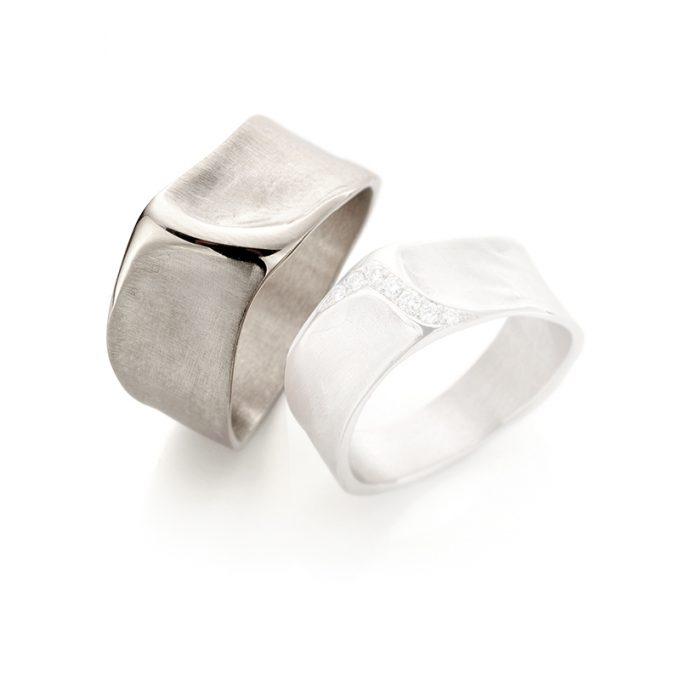 White gold wedding ring N° 34_7 man's ring