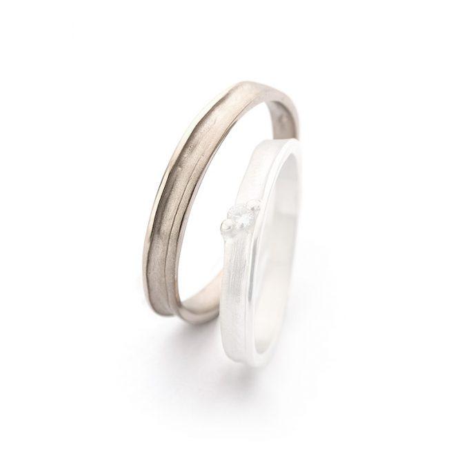 White gold wedding ring N° 40_1 man's ring