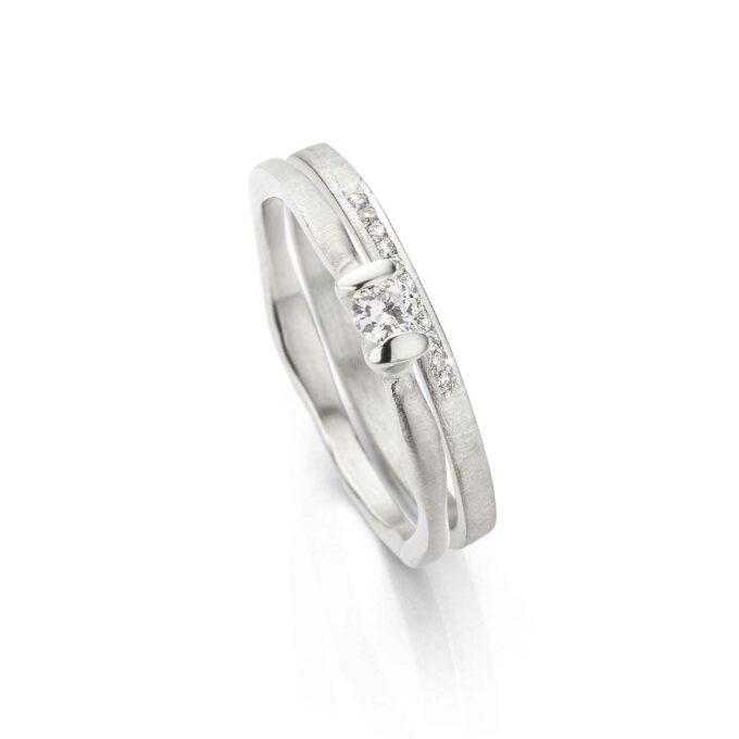 Rhodium gold combination rings