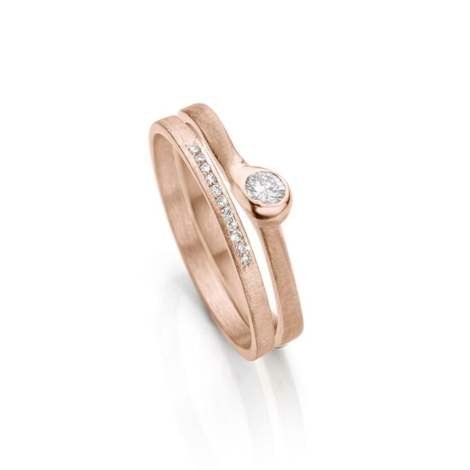 Rose gold combination rings