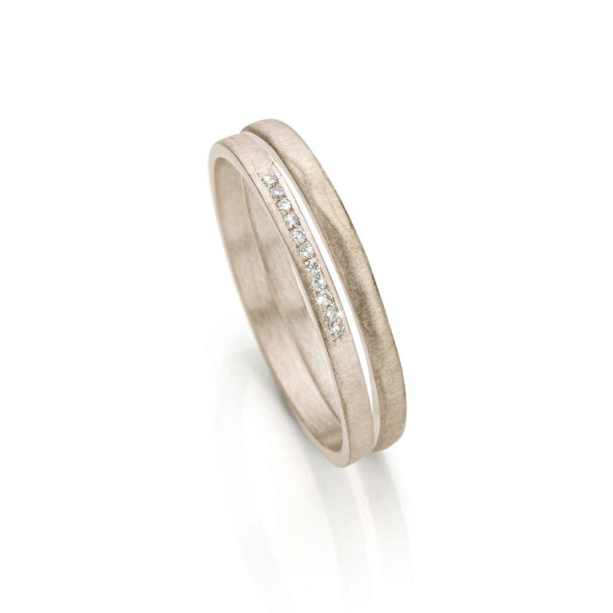 White gold caombination rings