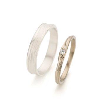 Witgouden trouwring met diamant