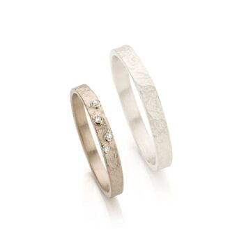 White gold wedding ring with diamonds