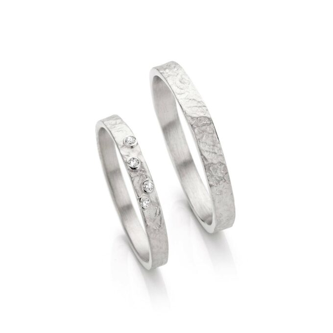 Rhodium gold wedding rings