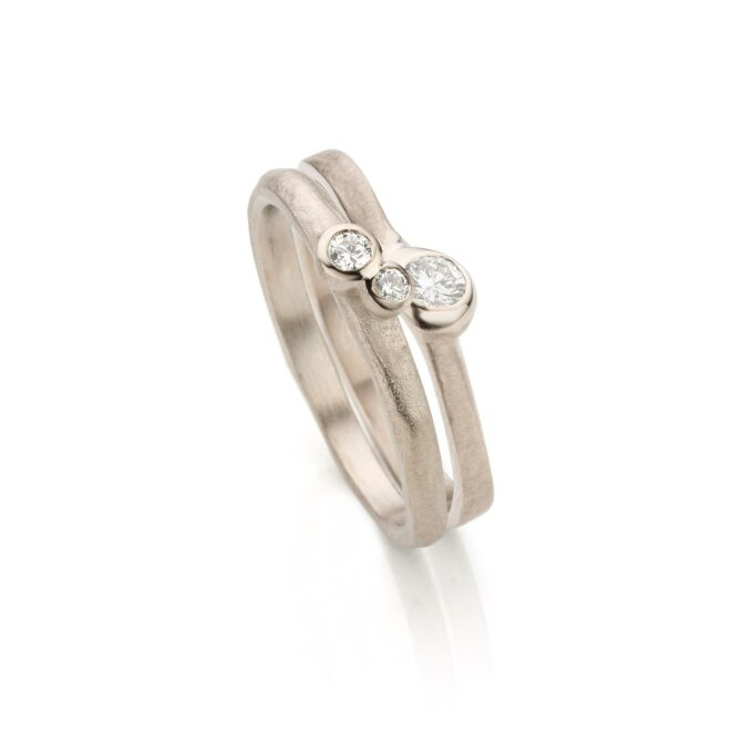 White gold combination rings