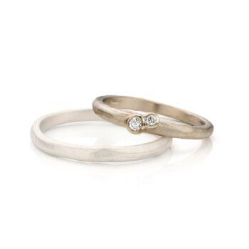 Witgouden trouwring voor vrouwen met diamanten