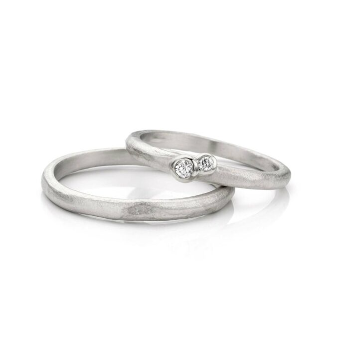 Rhodium gold wedding rings