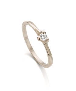 Witgouden verlovingsring met diamant N° 059