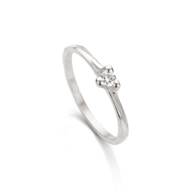 Rhodium gold engagement ring with diamond N° 059