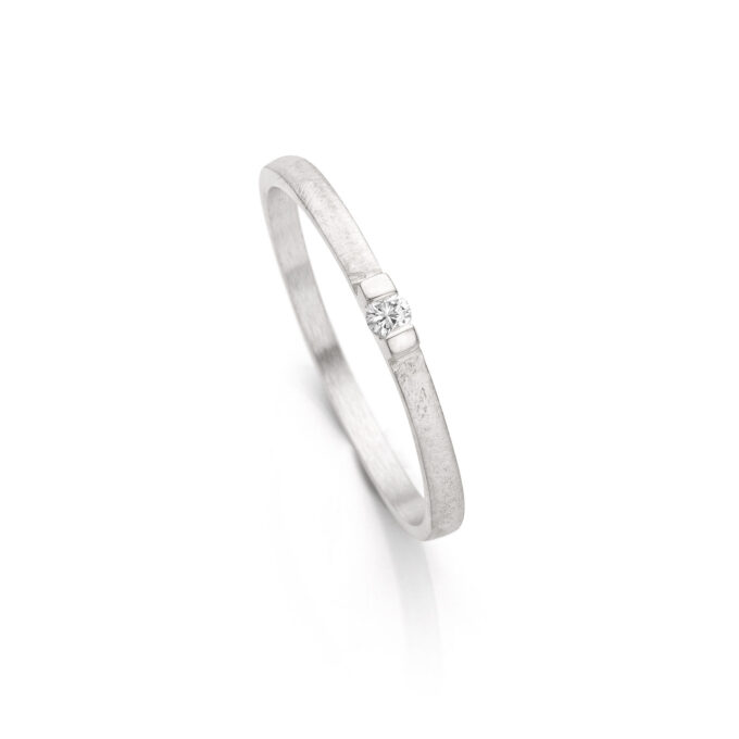 Rhodium gold engagement ring with diamond N° 060