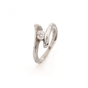 Witgouden verlovingsring met diamant N° 129