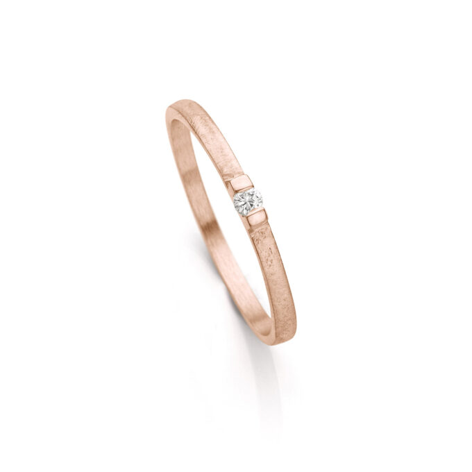 Rosé gold engagement ring with diamond N° 060