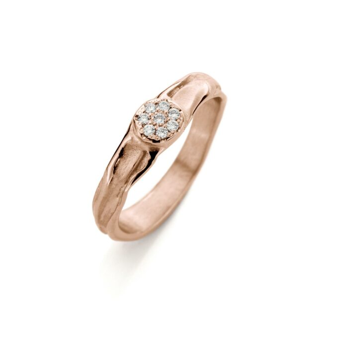 Rose gold engagement ring with diamonds