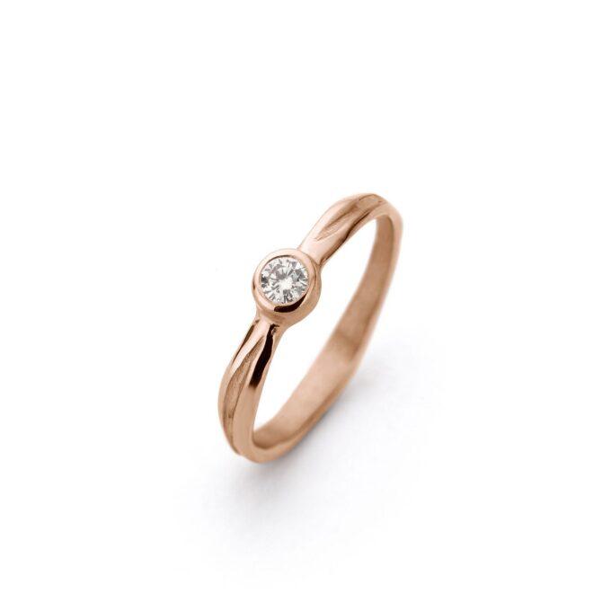 Rose gouden verlovingsring met diamant