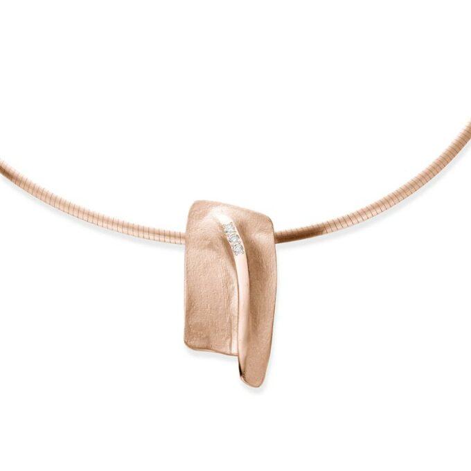 Rose gouden halsketting met diamanten
