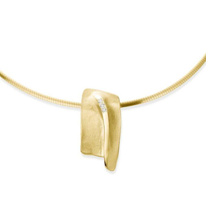 Geelgouden halsketting met diamanten