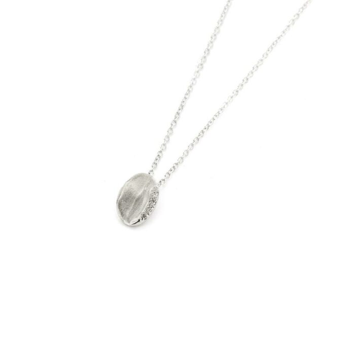 Rhodium gold necklace with diamonds