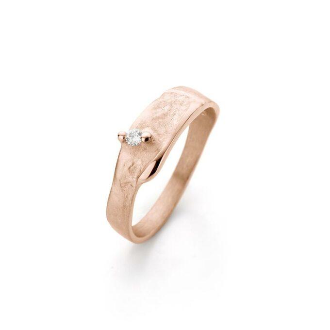Rose gouden ring met diamant