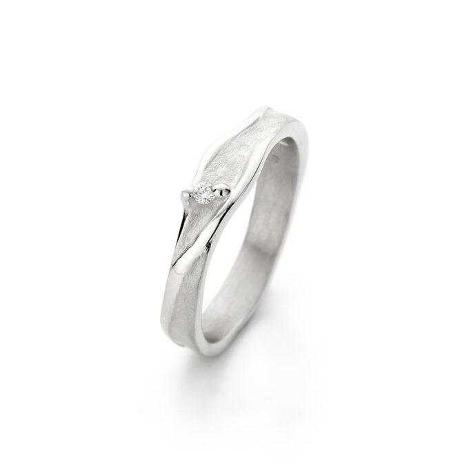Rhodium gouden ring met diamant