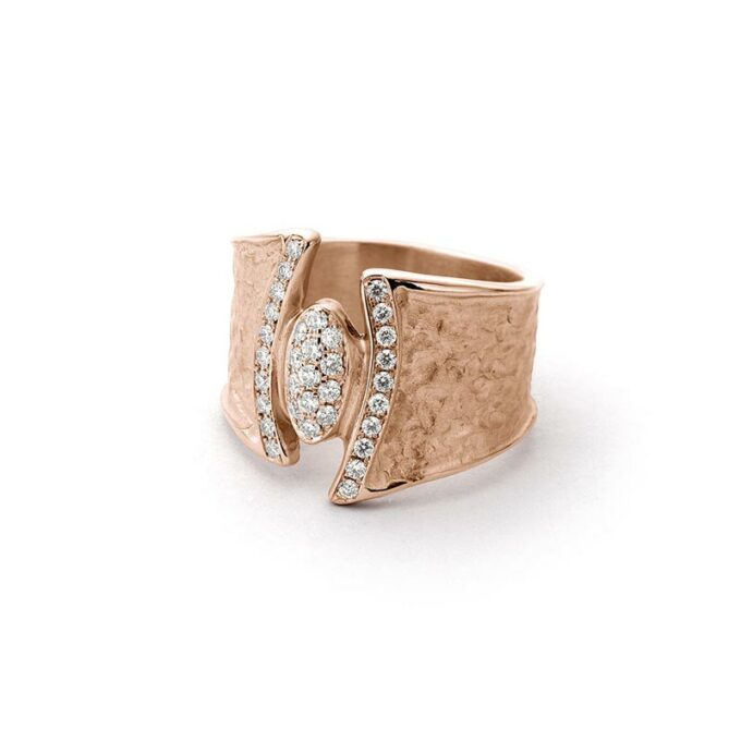 Rose golden ring with diamonds