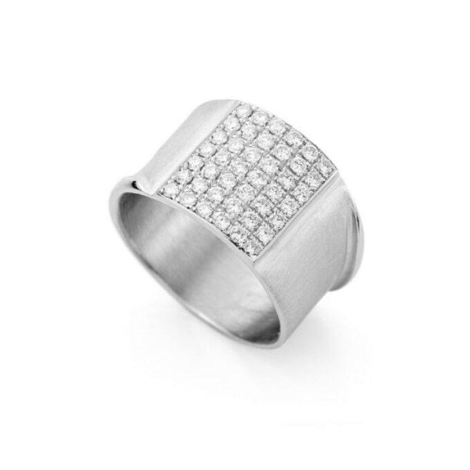 Rhodium gouden ring met diamanten N 244