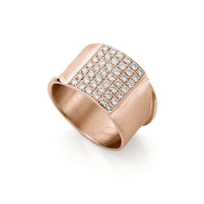 Rose gouden ring met diamanten N 244