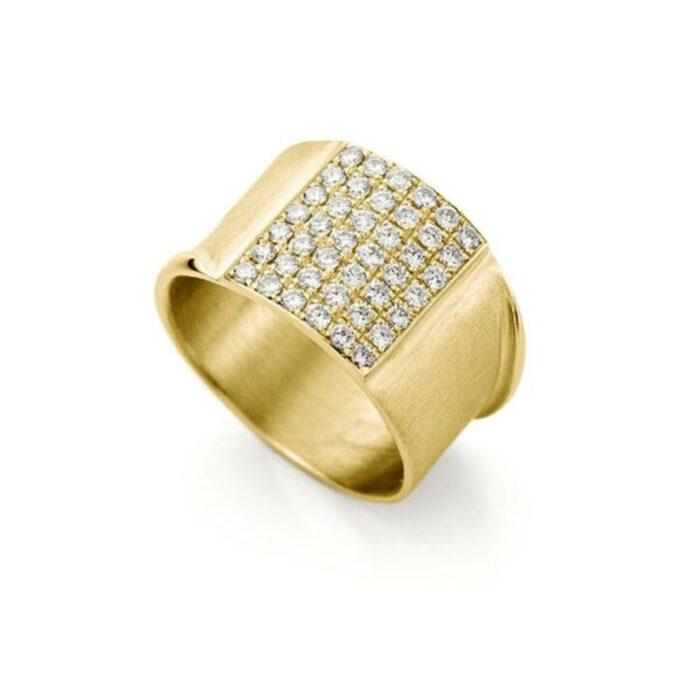 Geelgouden ring met diamanten N 244