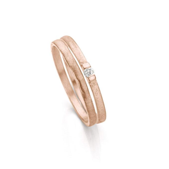 Rosé gold wedding ring combination N° 055 en N° 60