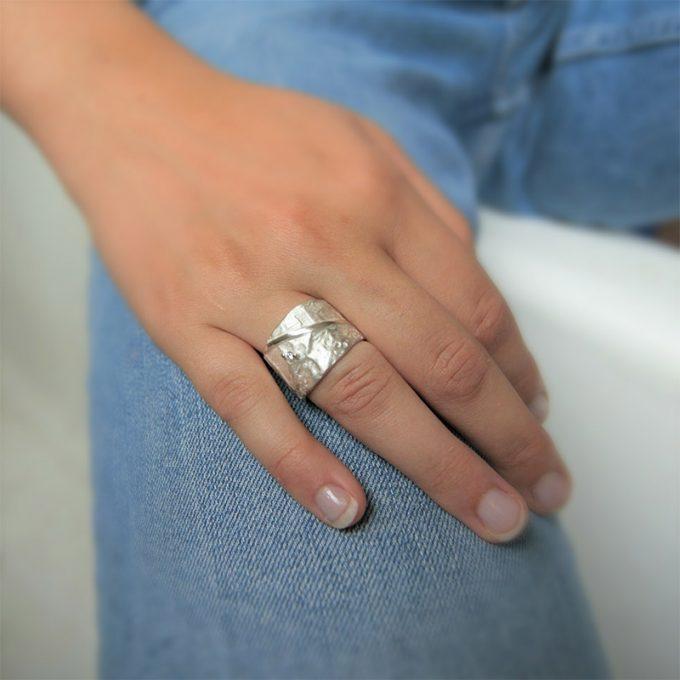 Zilveren ring met diamanten N° 019 SET Model Foto