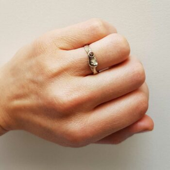 R 79 Silver Ring Orange Diamond