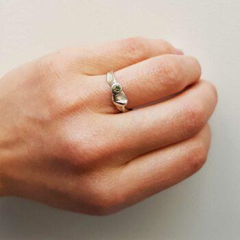 R 79 Silver Ring Yellow Diamond