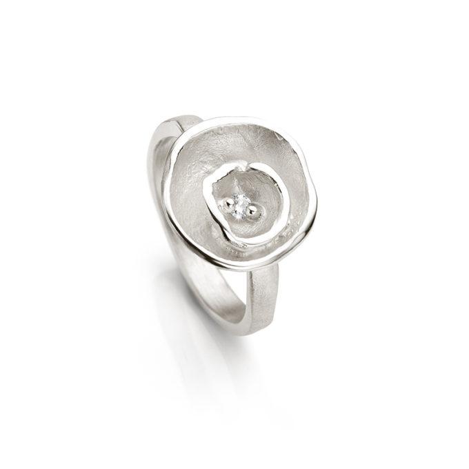 Zilveren ring met diamant N° 263