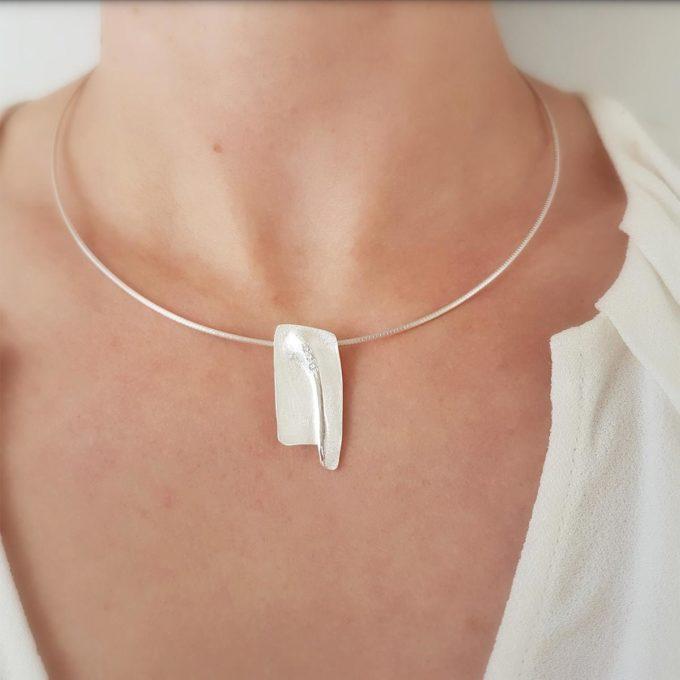 Zilveren halsketting N° 026_SET Model Foto