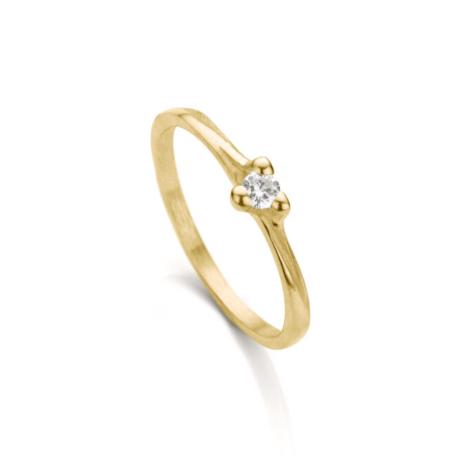 Yellow gold engagement ring with diamond N° 059