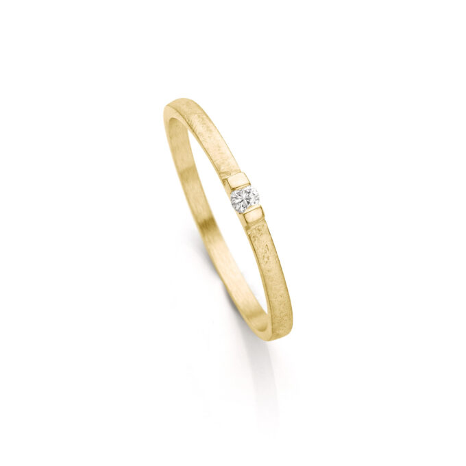 Yellow gold engagement ring with diamond N° 060