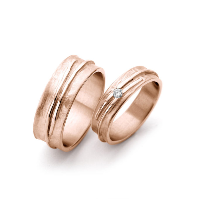 Wedding Bands N° 14_1 red gold diamond