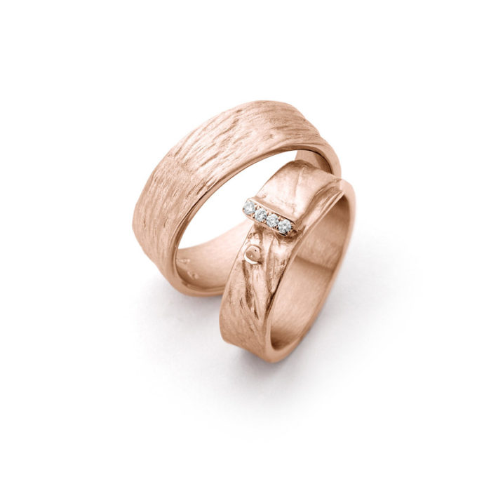 Wedding Bands N° 16_4 red gold diamond