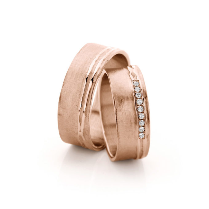 Wedding Bands N° 18_9 red gold diamond