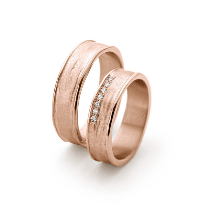 Wedding Bands N° 9_7 red gold diamond