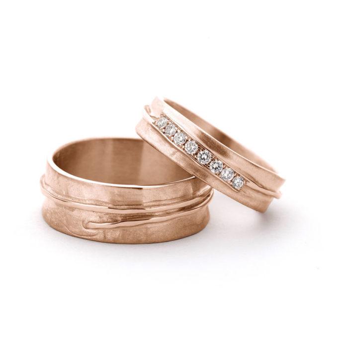 Wedding Rings N° 14_8red gold diamonds