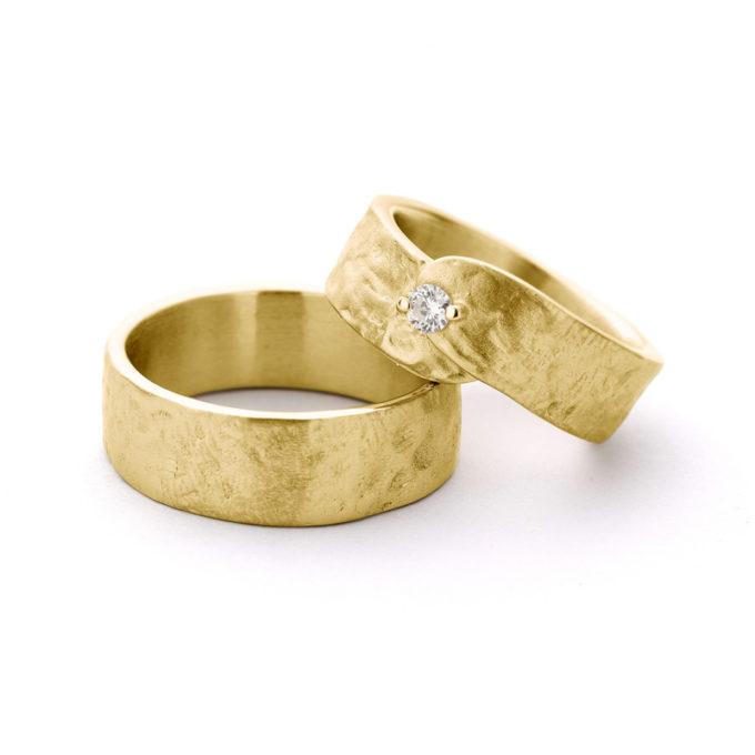 Witgouden trouwringen N° 19 geel goud