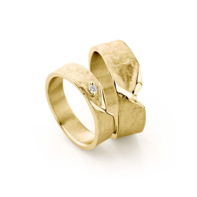 Witgouden trouwringen N° 20_1 geel goud