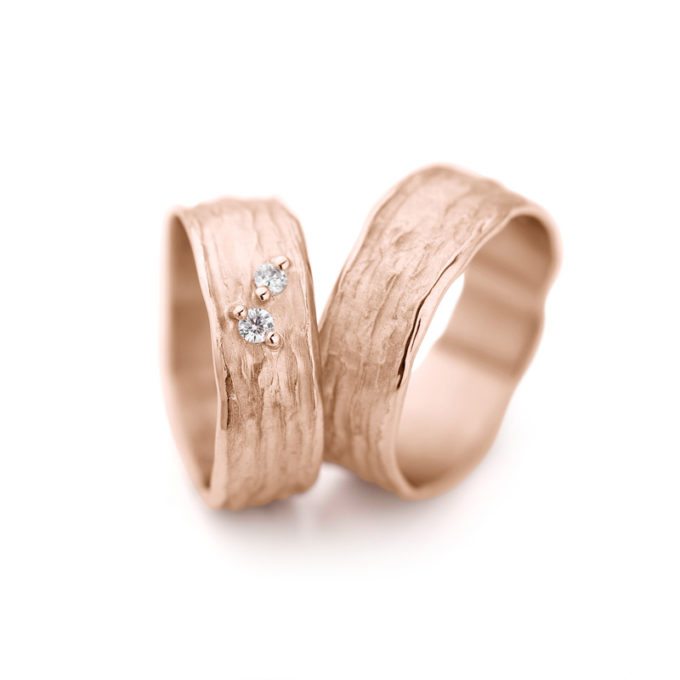 Wedding Rings N° 28_2 red gold diamonds