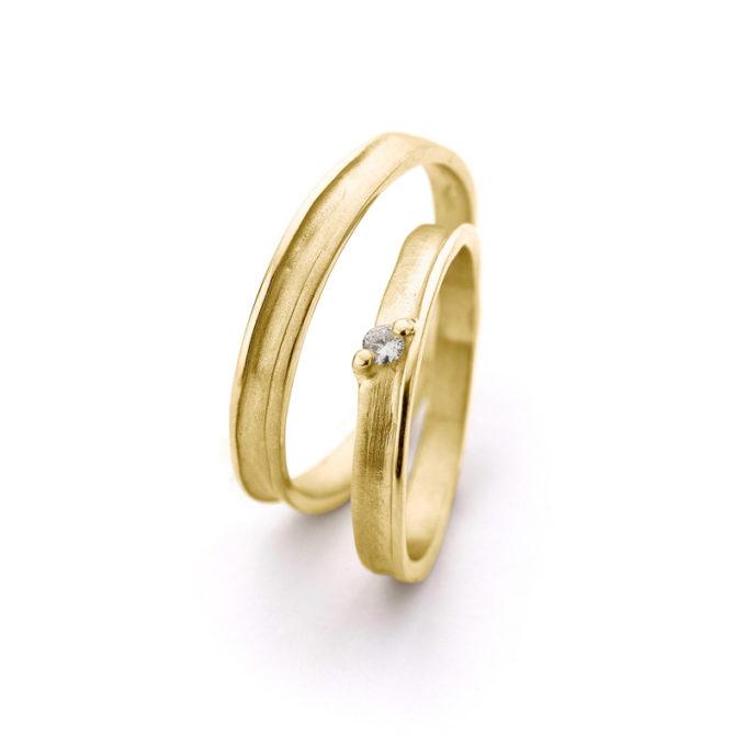 Witgouden trouwringen N° 40_1  geel goud