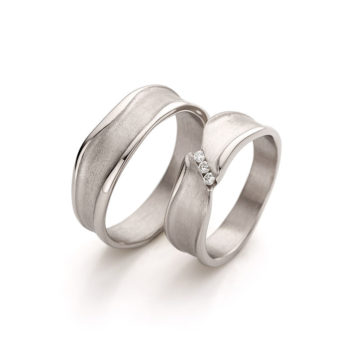 Wedding Rings N° 44_3 white gold champagne color with diamonds