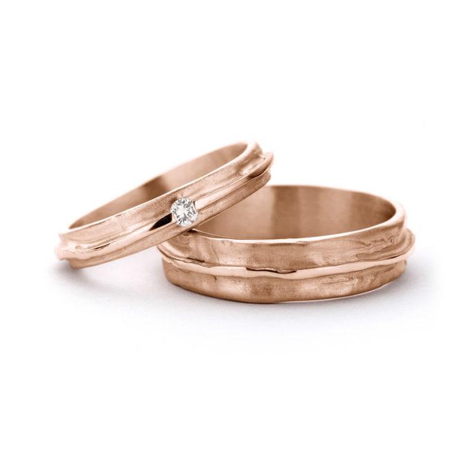 Wedding Rings N° 7_1 red gold diamonds